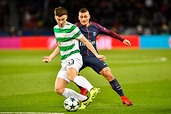 PARIS, Nov. 23, 2017  Marco Verratti (R) of Paris Saint-Germain competes with Kieran Tierney of Celtic FC during the Group B match of 2017-18 UEFA Champions League in Paris, France on Nov. 22, 2017. Paris Saint-Germain won 7-1 at home. (Credit Image: © Chen Yichen/Xinhua via ZUMA Wire)