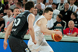 Vlado Ilievski of Union Olimpija vs Petar Bozic of Partizan during final match of Basketball NLB League at Final Four tournament between KK Union Olimpija (SLO) and Partizan Belgrade (SRB), on April 21, 2011 at SRC Stozice, Ljubljana, Slovenia. (Photo By Matic Klansek Velej / Sportida.com)