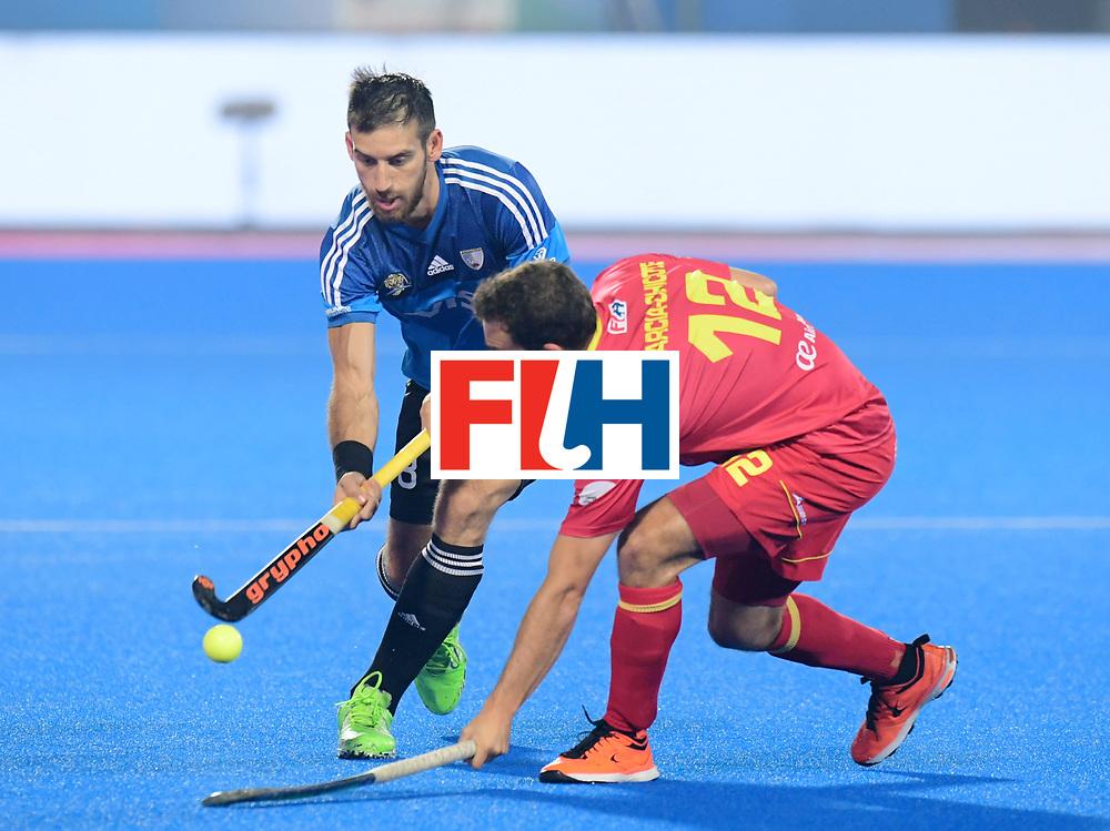 Odisha Men's Hockey World League Final Bhubaneswar 2017<br /> Match id:11<br /> Argentina v Spain<br /> Foto: Nahuel Salis (Arg) in dual with Marc Garcia (Esp) <br /> COPYRIGHT WORLDSPORTPICS FRANK UIJLENBROEK