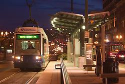 Bus stop at University of Washington's Tacoma campus at night, Tacoma, Washington, USA
