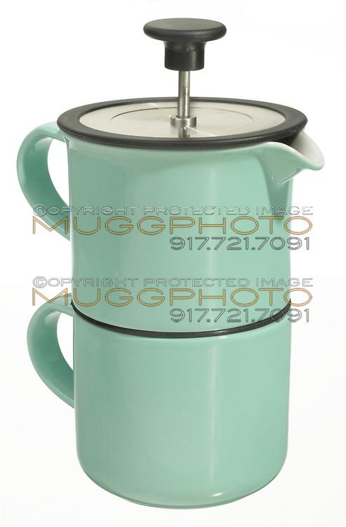 ceramic coffee press with mug