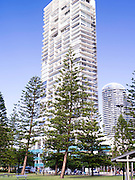 Skyline view of Broadbeach, QLD, Australia, near Brisbane and the Gold Coast.