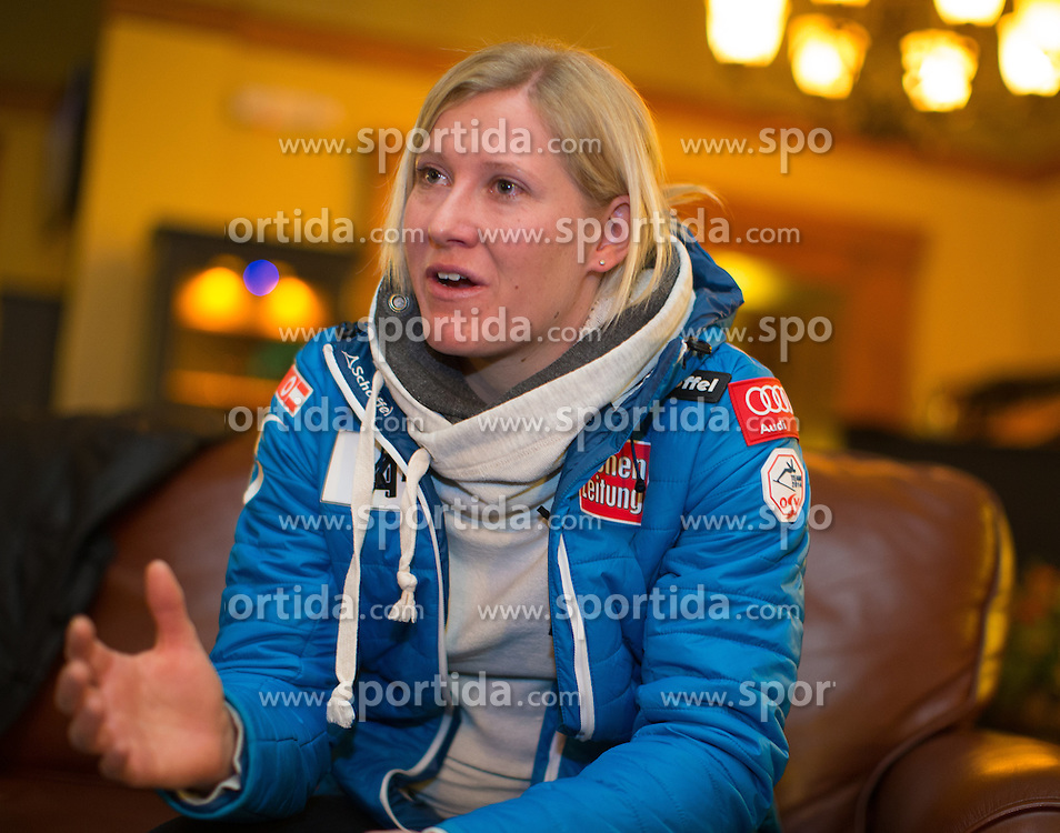 27.11.2013, Hotel Charter, Beaver Creek, USA, FIS Ski Weltcup, Beaver Creek, Pressegespraech OeSV Damenteam, im Bild Andrea Fischbacher (AUT) // Andrea Fischbacher of Austria during the press conference of Austrian ladies Ski Team of the Beaver Creek ladies FIS Ski Alpine World Cup at the Charter Hotel in Beaver Creek, United States on 2012/11/27. EXPA Pictures © 2013, PhotoCredit: EXPA/ Johann Groder