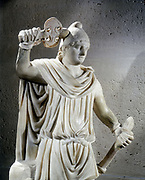 Statue of Mithras, ancient Persian god of light who was adopted into the Roman pantheon. Mithras is shown wearing the Phrygian cap.  Louvre, Paris