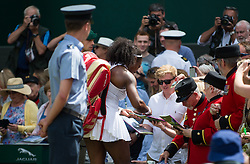 LONDON, ENGLAND - Thursday, July 7, 2016:  Serena Williams (USA) signing for her fans after winning the Ladies' Singles - Semi-finals match on day eleven of the Wimbledon Lawn Tennis Championships at the All England Lawn Tennis and Croquet Club. (Pic by Kirsten Holst/Propaganda)