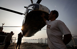 SRI LANKA COLOMBO 19MAR13 - Assembly of the helicopter aboard the Greenpeace ship Esperanza in the port of Colombo, Sri Lanka. <br /> <br /> The Esperanza is on patrol in the Indian Ocean looking for illegal fishing vessels.<br /> <br /> <br /> <br /> jre/Photo by Jiri Rezac / Greenpeace