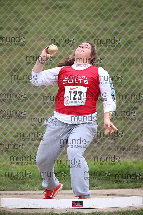 Brianna Forletta of Bill Crothers SS - Unionville competes in the midget girls shot put at the 2013 OFSAA Track and Field Championship in Oshawa Ontario, Thursday,  June 6, 2013.<br /> Mundo Sport Images / Sean Burges