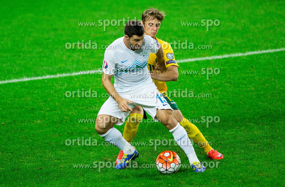 Bojan Jokic of Slovenia vs Arvydas Novikovas of Lithuaniaduring the EURO 2016 Qualifier Group E match between Slovenia and Lithuania, on October 9, 2015 in SRC Stozice, Ljubljana Slovenia. Photo by Vid Ponikvar / Sportida