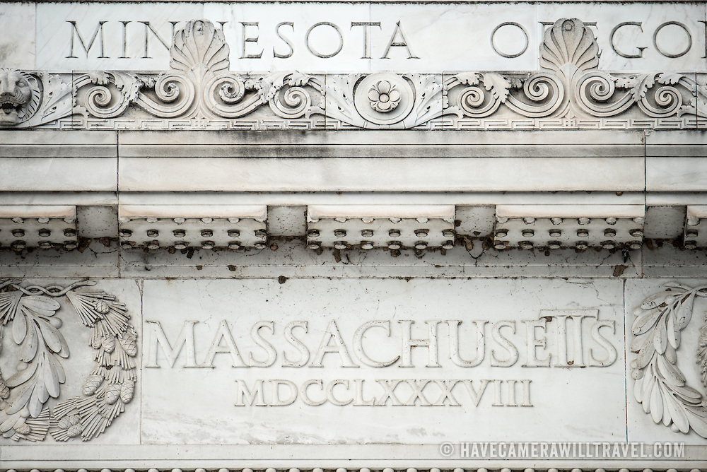 Detail of one of the states' names that ring the top of the Lincoln Memorial in Washington DC.