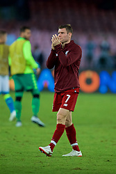 NAPLES, ITALY - Wednesday, October 3, 2018: Liverpool's James Milner applauds the supporters as he walks off dejected losing 1-0 to Napoli during the UEFA Champions League Group C match between S.S.C. Napoli and Liverpool FC at Stadio San Paolo. (Pic by David Rawcliffe/Propaganda)