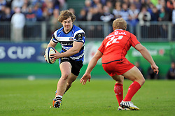 Nick Auterac of Bath Rugby in possession - Photo mandatory by-line: Patrick Khachfe/JMP - Mobile: 07966 386802 25/10/2014 - SPORT - RUGBY UNION - Bath - The Recreation Ground - Bath Rugby v Toulouse - European Rugby Champions Cup