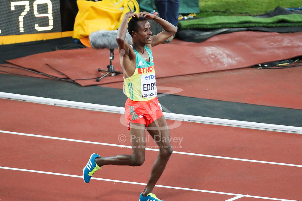 London, August 12 2017 . Muktar Edris, Ethiopia, after winning the men's 5000m final on day nine of the IAAF London 2017 world Championships at the London Stadium. © Paul Davey.