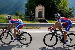 Primoz Roglic (SLO) of Adria Mobil and Kristjan Fajt (SLO) of Adria Mobil during Stage 3 from Skofja Loka to Vrsic (170 km) of cycling race 20th Tour de Slovenie 2013,  on June 15, 2013 in Slovenia. (Photo By Vid Ponikvar / Sportida)