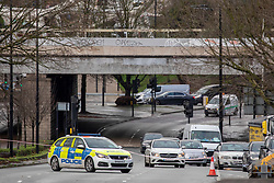 © Licensed to London News Pictures. 20/12/2019. A214 Trinity Road underpass closed due to flooding causing traffic jams in the Wandsworth area as the Christmas Getaway starts in London. Heavy rain is causing chaos for thousands of travellers who are expected to travel over the festive period: Alex Lentati/LNP