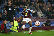 Burnley defender Tendayi Darikwa (27)   crosses the ball for Burnley forward Sam Vokes (9)  to score during the The FA Cup third round replay match between Burnley and Sunderland at Turf Moor, Burnley, England on 17 January 2017. Photo by Simon Davies.