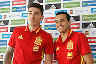 Hector Bellerin (left) with Pedro Rodriguez during a press conference at Aktivpark Montafon Stadion, Schruns<br /> Picture by EXPA Pictures/Focus Images Ltd 07814482222<br /> 28/05/2016<br /> ***UK &amp; IRELAND ONLY***<br /> EXPA-ESP-160530-0051.jpg