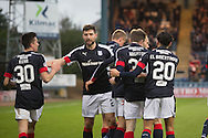 Dundee celebrate after St Johnstone&rsquo;s Steven Anderson had scored an own goal to put the Dark Blues 3-0 ahead - Dundee v St Johnstone in the Ladbrokes Scottish Premiership at Dens Park, Dundee - Photo: David Young, <br /> <br />  - &copy; David Young - www.davidyoungphoto.co.uk - email: davidyoungphoto@gmail.com