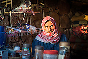 A Bedouin man sells tea and coffee to hikers at the summit of Mount Sinai in Egypt.