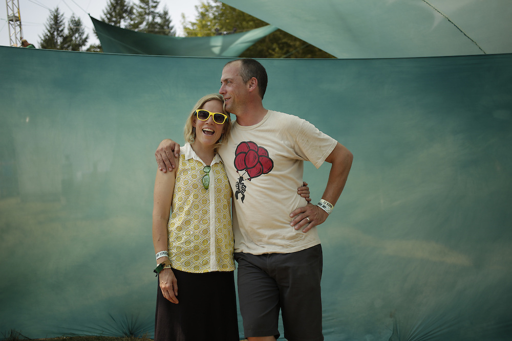 Sara and Tim LaBarge pose backstage at Pickathon in Portland, Ore. on Saturday, August 2, 2014. (Photo by Jason Redmond)