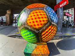 June 22, 2018 - Sao Paulo, Brazil - Football Parade on Avenida Paulista, in Sao Paulo (SP), this Friday 22, June 2018. There are 70 balls in the main sights of São Paulo. The initiative is of the Union of Athletes of São Paulo, commemorating the 70 years of the organization and in honor of the World Cup. (Credit Image: © Cris Faga/NurPhoto via ZUMA Press)