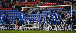 WIGAN, ENGLAND - Sunday, January 20, 2008: Everton's Joleon Lescott (far left) scores the second goal against Wigan Athletic during the Premiership match at the JJB Stadium. (Photo by David Rawcliffe/Propaganda)