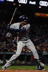 SAN FRANCISCO, CA - APRIL 08: Fernando Tatis Jr. #23 of the San Diego Padres at bat against the San Francisco Giants during the fifth inning at Oracle Park on April 8, 2019 in San Francisco, California. The San Diego Padres defeated the San Francisco Giants 6-5. (Photo by Jason O. Watson/Getty Images) *** Local Caption *** Fernando Tatis Jr.