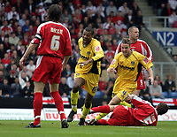 Photo: Rich Eaton.<br /> <br /> Oxford United v Leyton Orient. Coca Cola League 2. 06/05/2006.<br /> <br /> Oxford Uniteds Eric Sabin (centre - 18) turns away to celebrate after scoring Oxford Uniteds first goal