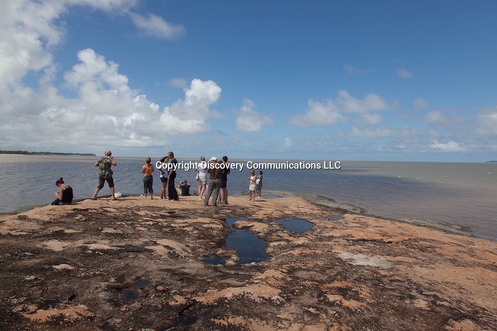 French Guyana, people watching on  Kourou beach , / gens en train de ragrader avant le depart de la fusee ariane. kourou la plage.  guyane.