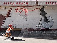 """""""I Love NY"""" mural on East 81 St and Third Ave; mural by Nick Walker"""