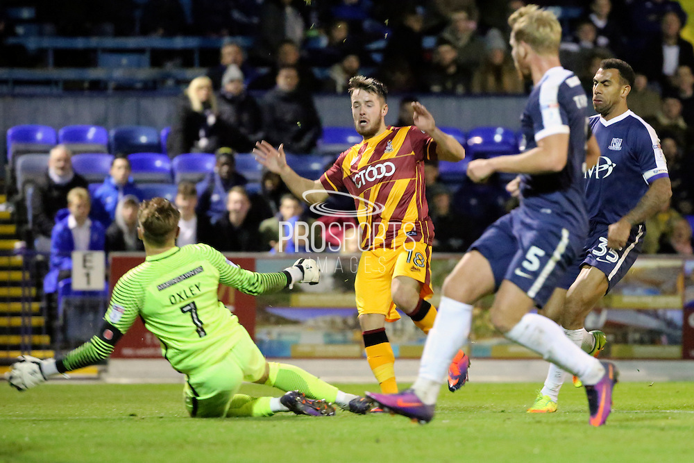 Bradford City midfielder Marc McNulty (18) with a chance during the EFL Sky Bet League 1 match between Southend United and Bradford City at Roots Hall, Southend, England on 19 November 2016. Photo by Matthew Redman.