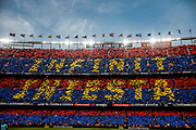 Fans making a tribute to 08 Andres Iniesta from Spain of FC Barcelona during the Spanish championship La Liga football match between FC Barcelona and Real Sociedad on May 20, 2018 at Camp Nou stadium in Barcelona, Spain - Photo Xavier Bonilla / Spain ProSportsImages / DPPI / ProSportsImages / DPPI
