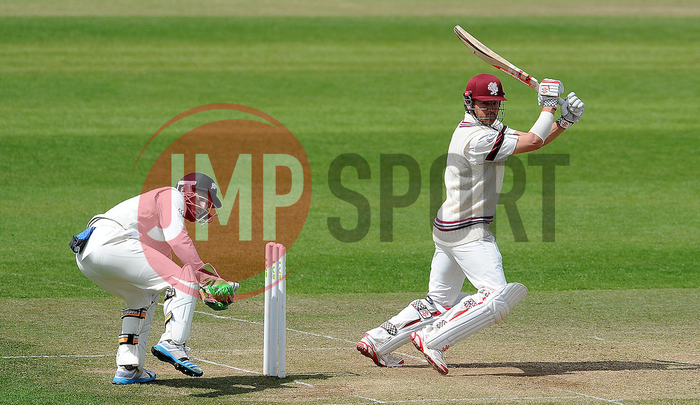 Somerset's James Hildreth cuts the ball. Photo mandatory by-line: Harry Trump/JMP - Mobile: 07966 386802 - 11/05/15 - SPORT - CRICKET - Somerset v New Zealand - Day 4 - The County Ground, Taunton, England.