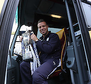 Gavin Rae boards the bus at Dens Park to head to the civic  reception - Dundee FC civic reception at Dundee City Chambers<br /> <br />  - &copy; David Young - www.davidyoungphoto.co.uk - email: davidyoungphoto@gmail.com