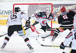13.12.2015, Tiroler Wasserkraft Arena, Innsbruck, Österreich, EBEL, HC TWK Innsbruck die Haie vs HC Orli Znojmo, 30. Runde, im Bild vl.: Antonin Boruta (HC Orli Znojmo), Patrik Nechvatal (HC Orli Znojmo), Hunter Bishop (HC TWK Innsbruck Die Haie) // during the Erste Bank Icehockey League 30th round match between HC TWK Innsbruck  die Haie and HC Orli Znojmo at the Tiroler Wasserkraft Arena in Innsbruck, Austria on 2015/12/13. EXPA Pictures © 2015, PhotoCredit: EXPA/ Jakob Gruber