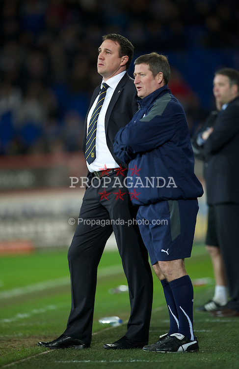CARDIFF, WALES - Tuesday, February 14, 2012: Cardiff City's manager Malky Mackay and assistant manager David Kerslake during the Football League Championship match against Peterborough United at the Cardiff City Stadium. (Pic by David Rawcliffe/Propaganda)