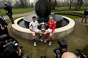 Martin Corry [left] and Gareth Thomas, centre of attention as they pose for the cameras at the  launch of the 2006, RBS Six Nations Rugby, Press Conference, held at the Hurlingham Club, Fulham. London ENGLAND, on the 25.01.2006    © Peter Spurrier/Intersport Images - email images@intersport-images.   [Mandatory Credit, Peter Spurier/ Intersport Images].