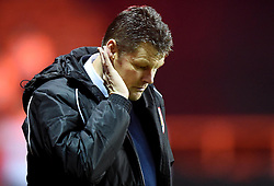 "Bristol City manager, Steve Cotterill listens to supporters demanding ""gives us a wave"" during the FA Cup third round replay between Bristol City and Doncaster Rovers at Ashton Gate on January 13, 2015 in Bristol, England. - Photo mandatory by-line: Paul Knight/JMP - Mobile: 07966 386802 - 13/01/2015 - SPORT - Football - Bristol - Ashton Gate Stadium - Bristol City v Doncaster Rovers - FA Cup third round replay"