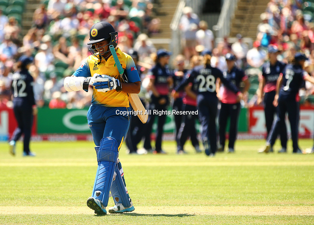 July 2nd 2017, The Cooper Associates County Ground, Taunton, England; The ICC Womens World Cup; England Women versus Sri Lanka Women; Ama Kanchana of Sri Lanka looks dejected after being caught by Fran Wilson of England, bowled by Danielle Hazell of England