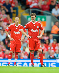 LIVERPOOL, ENGLAND - Saturday, August 23, 2008: Liverpool's Xabi Alonso looks dejected after Middlesbrough take the lead during the Premiership match at Anfield. (Photo by David Rawcliffe/Propaganda)