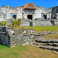 House of the Halach Uinic at Mayan Ruins in Tulum, Mexico<br /> The halach uinic was the supreme leader of a Mayan Kuchkabal, the form of government in the Yucat&aacute;n Peninsula during the pre-Columbian era (through the 16th century).  The great lord controlled all power and appointed all administrative officers.  The position was then passed on to the eldest son of the family. This building was the halach uinic&rsquo;s residence in Tulum.
