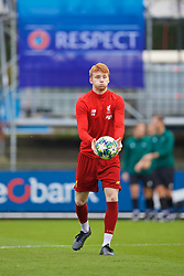 GENK, BELGIUM - Wednesday, October 23, 2019: Liverpool's Sepp Van den Berg during the pre-match warm-up before the UEFA Youth League Group E match between KRC Genk Under-19's and Liverpool FC Under-19's at the KRC Genk Arena Stadium B. (Pic by David Rawcliffe/Propaganda)