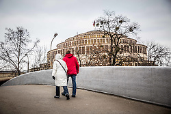 Couple walking to the Centennial Hall arena on Day 3 of Men's EHF EURO 2016, on January 17, 2016 in Wroclaw, Poland. Photo by Vid Ponikvar / Sportida