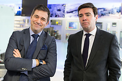 © Licensed to London News Pictures . 05/02/2016 . Manchester , UK . JUERGEN MAIER , CEO of Siemens and ANDY BURNHAM MP . Labour in for Britain pro-EU campaign event at the Siemens technology campus in South Manchester . Photo credit : Joel Goodman/LNP