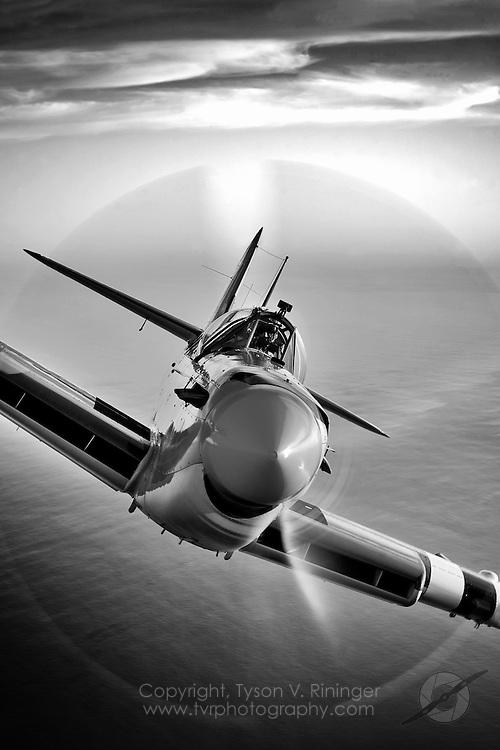 Eddie Kurdziel flies his Fairey Firefly AS.Mk 6 number WB518 behind a North American B-25J Mitchell bomber named Executive Sweet off the coast of San Diego, California.