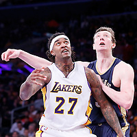 07 December 2014: Los Angeles Lakers center Jordan Hill (27) vies for the rebound with New Orleans Pelicans center Omer Asik (3) during the New Orleans Pelicans 104-87 victory over the Los Angeles Lakers, at the Staples Center, Los Angeles, California, USA.