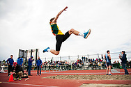 UVM's Colby Cunningham competes in the long jump during the first day of the America East Track and Field Championship at the Frank H. Livak Track and Field Facility on Saturday May 3, 2014 in Burlington, Vermont. (BRIAN JENKINS, for the Free Press)