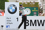Chris Wood tees off at the 1st hole during the BMW PGA Championship at Wentworth Club, Virginia Water, United Kingdom on 29 May 2016. Photo by Phil Duncan.