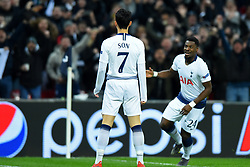 February 13, 2019 - London, England, United Kingdom - Tottenham forward Heung-Min Son celebrates his goal with Tottenham defender Serge Aurier during the UEFA Champions League match between Tottenham Hotspur and Ballspielverein Borussia 09 e.V. Dortmund at Wembley Stadium, London on Wednesday 13th February 2019. (Credit: Jon Bromley | MI News & Sport Ltd) (Credit Image: © Mi News/NurPhoto via ZUMA Press)