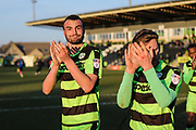 Forest Green Rovers Farrend Rawson(20) and Forest Green Rovers Dayle Grubb(8) during the EFL Sky Bet League 2 match between Forest Green Rovers and Crawley Town at the New Lawn, Forest Green, United Kingdom on 24 February 2018. Picture by Shane Healey.