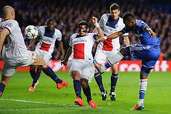Chelsea Forward Samuel Eto'o (CMR) shoots - Photo mandatory by-line: Rogan Thomson/JMP - 07966 386802 - 08/04/2014 - SPORT - FOOTBALL - Stamford Bridge, London - Chelsea v Paris Saint-Germain - UEFA Champions League Quarter-Final Second Leg.